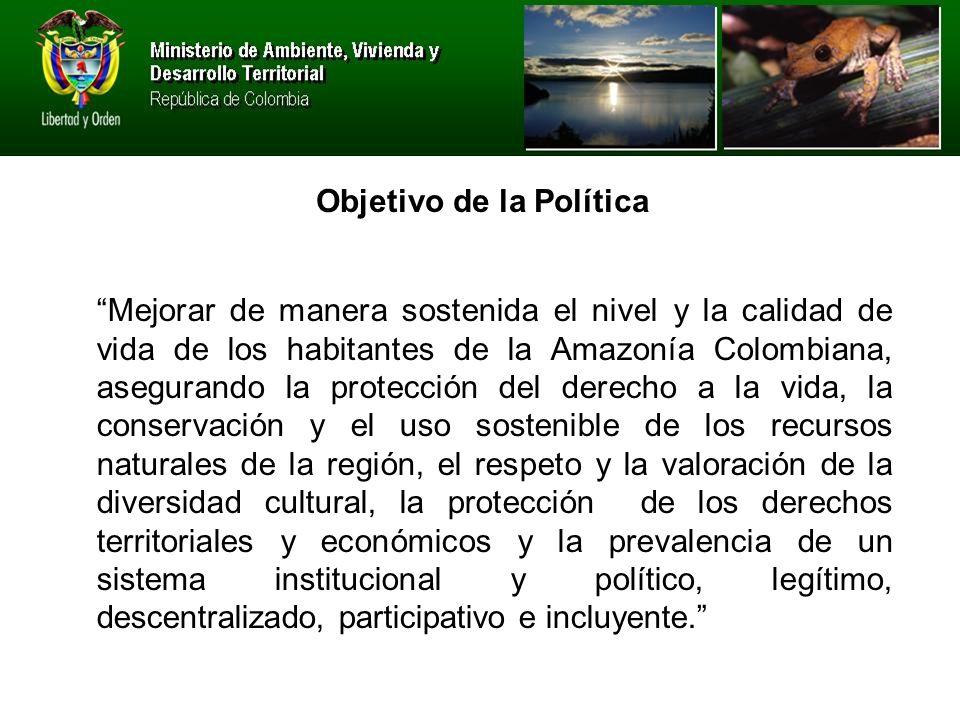 Mejorar de manera sostenida el nivel y la calidad de vida de los habitantes de la Amazonía Colombiana, asegurando la protección del derecho a la vida, la conservación y el uso sostenible de los recursos naturales de la región, el respeto y la valoración de la diversidad cultural, la protección de los derechos territoriales y económicos y la prevalencia de un sistema institucional y político, legítimo, descentralizado, participativo e incluyente.