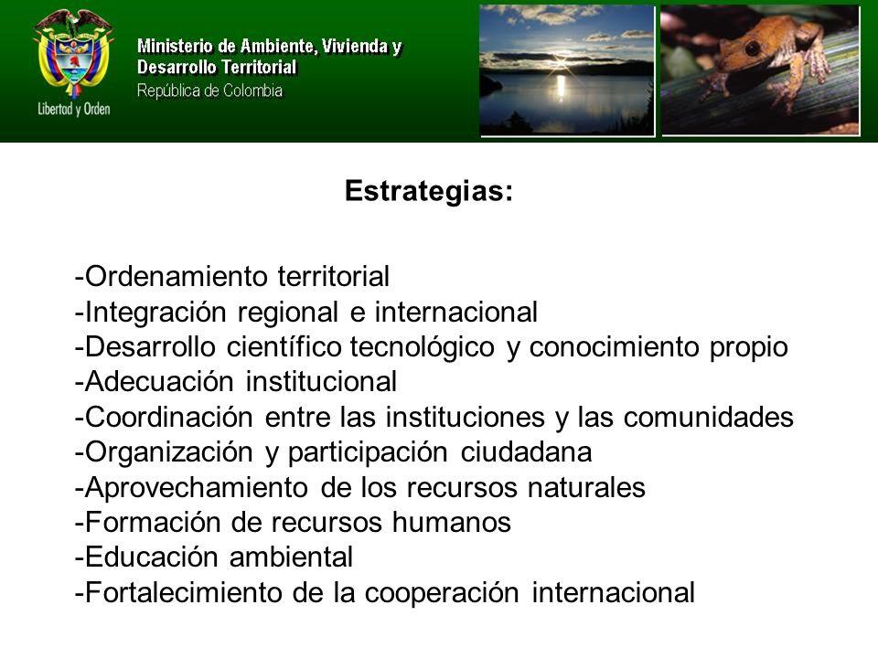 -Ordenamiento territorial -Integración regional e internacional -Desarrollo científico tecnológico y conocimiento propio -Adecuación institucional -Coordinación entre las instituciones y las comunidades -Organización y participación ciudadana -Aprovechamiento de los recursos naturales -Formación de recursos humanos -Educación ambiental -Fortalecimiento de la cooperación internacional Estrategias: