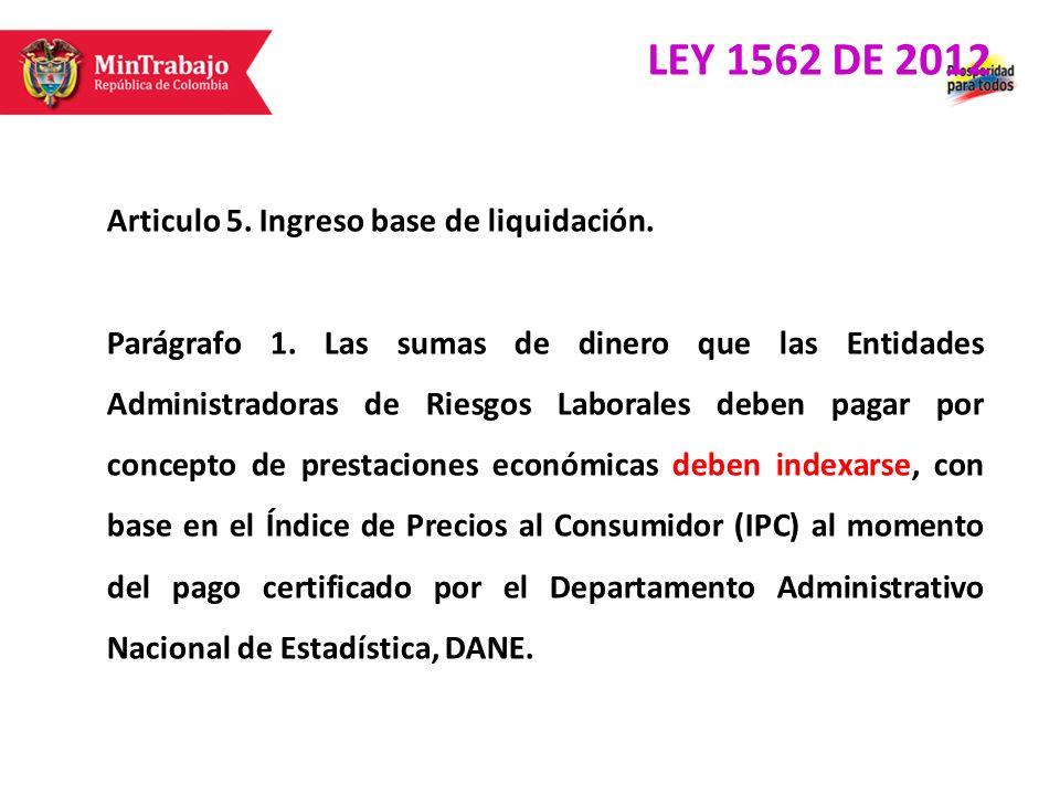 Articulo 5. Ingreso base de liquidación. Parágrafo 1. Las sumas de dinero que las Entidades Administradoras de Riesgos Laborales deben pagar por conce