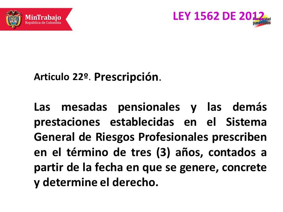 Articulo 22º. Prescripción. Las mesadas pensionales y las demás prestaciones establecidas en el Sistema General de Riesgos Profesionales prescriben en