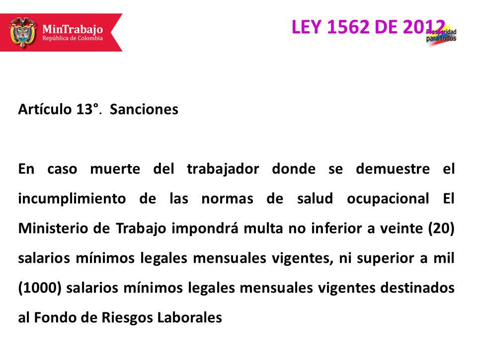 Artículo 13°. Sanciones En caso muerte del trabajador donde se demuestre el incumplimiento de las normas de salud ocupacional El Ministerio de Trabajo