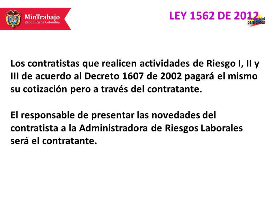 Los contratistas que realicen actividades de Riesgo I, II y III de acuerdo al Decreto 1607 de 2002 pagará el mismo su cotización pero a través del con