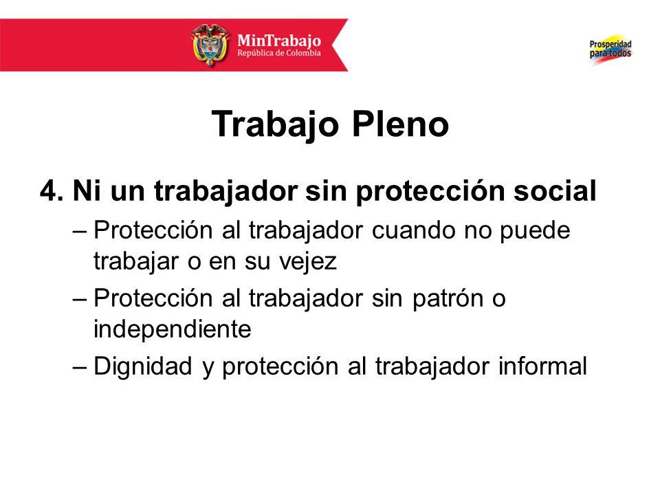Trabajo Pleno 4. Ni un trabajador sin protección social –Protección al trabajador cuando no puede trabajar o en su vejez –Protección al trabajador sin