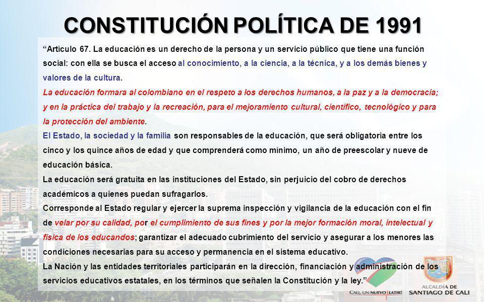 CONSTITUCIÓN POLÍTICA DE 1991 Artículo 67. La educación es un derecho de la persona y un servicio público que tiene una función social: con ella se bu