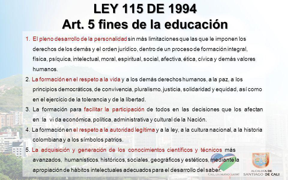 LEY 115 DE 1994 Art. 5 fines de la educación 1.El pleno desarrollo de la personalidad sin más limitaciones que las que le imponen los derechos de los