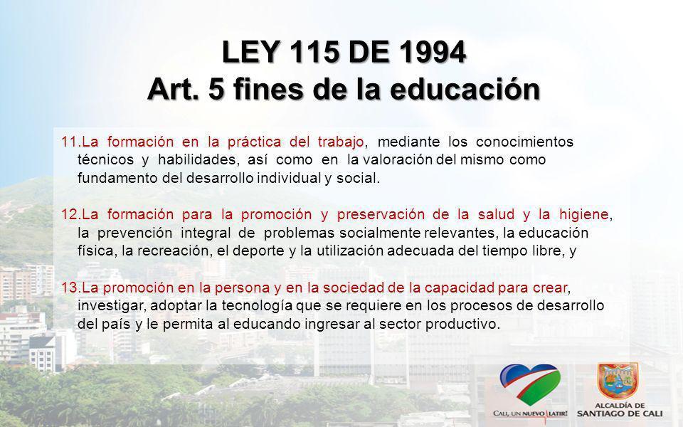 LEY 115 DE 1994 Art. 5 fines de la educación 11.La formación en la práctica del trabajo, mediante los conocimientos técnicos y habilidades, así como e