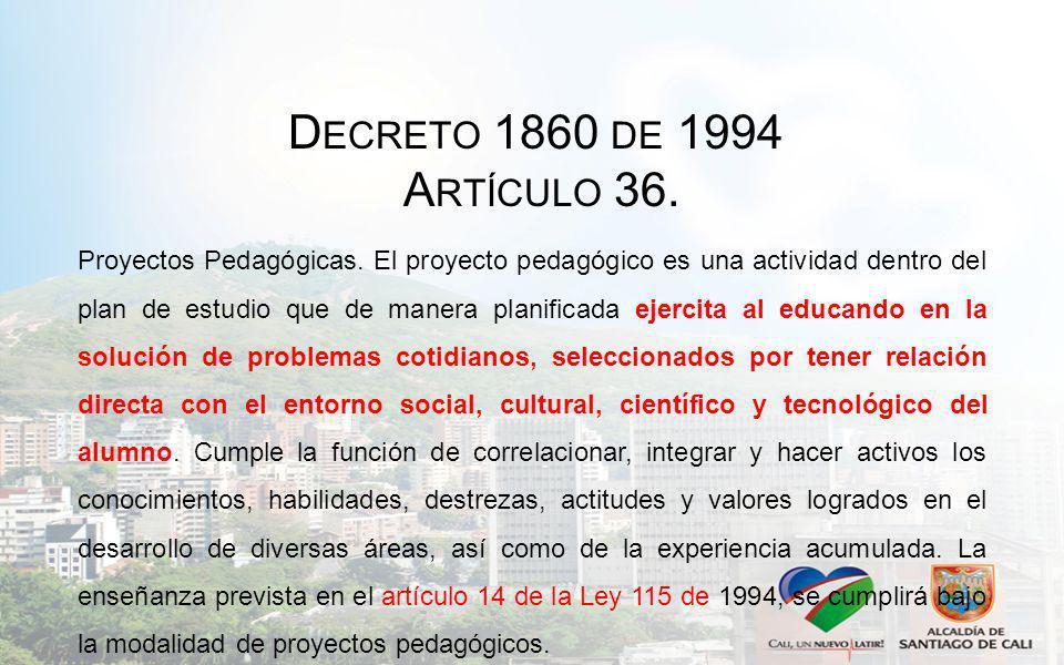 D ECRETO 1860 DE 1994 A RTÍCULO 36. Proyectos Pedagógicas. El proyecto pedagógico es una actividad dentro del plan de estudio que de manera planificad