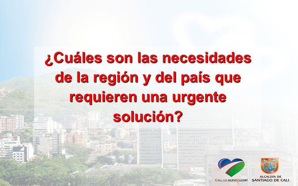¿Cuáles son las necesidades de la región y del país que requieren una urgente solución?