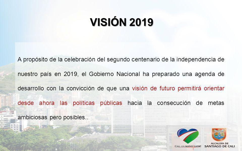 VISIÓN 2019 A propósito de la celebración del segundo centenario de la independencia de nuestro país en 2019, el Gobierno Nacional ha preparado una ag