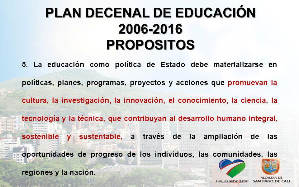 PLAN DECENAL DE EDUCACIÓN 2006-2016 PROPOSITOS 5. La educación como política de Estado debe materializarse en políticas, planes, programas, proyectos