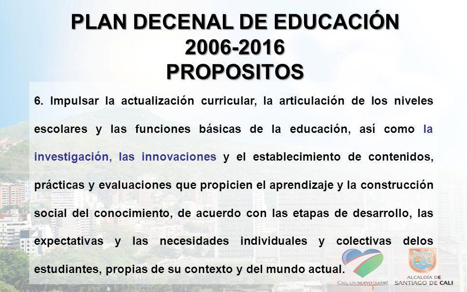 PLAN DECENAL DE EDUCACIÓN 2006-2016 PROPOSITOS 6. Impulsar la actualización curricular, la articulación de los niveles escolares y las funciones bás