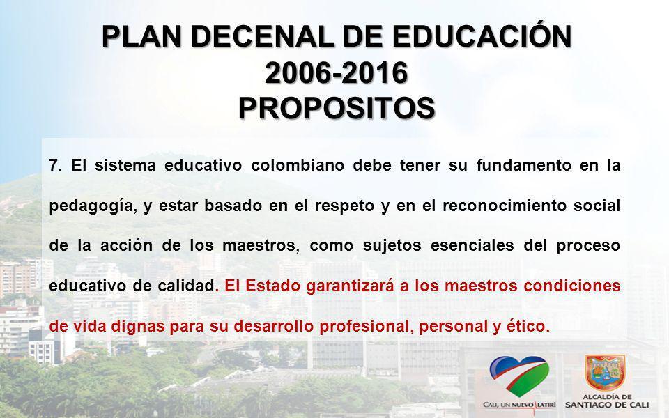 PLAN DECENAL DE EDUCACIÓN 2006-2016 PROPOSITOS 7. El sistema educativo colombiano debe tener su fundamento en la pedagogía, y estar basado en el respe