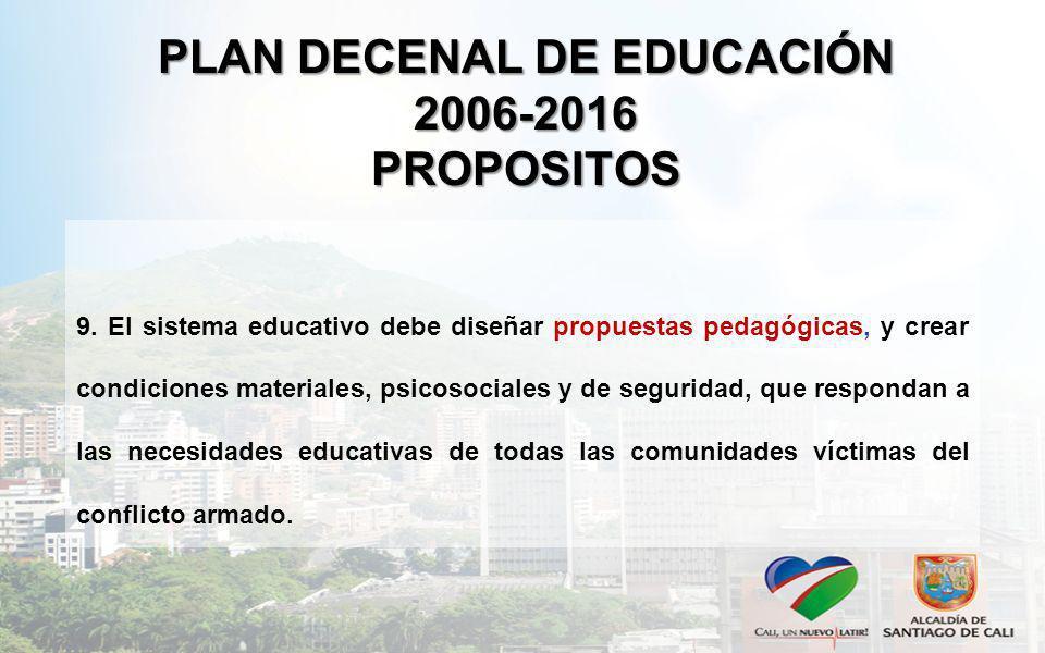PLAN DECENAL DE EDUCACIÓN 2006-2016 PROPOSITOS 9. El sistema educativo debe diseñar propuestas pedagógicas, y crear condiciones materiales, psicosocia