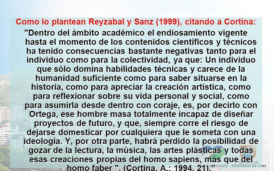 Como lo plantean Reyzabal y Sanz (1999), citando a Cortina: