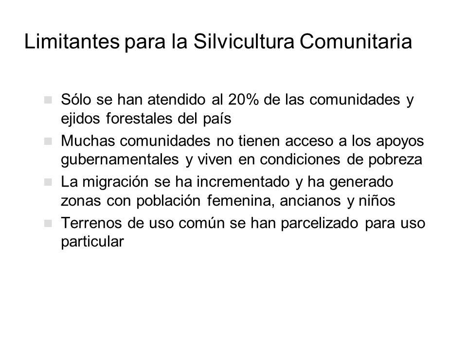 Limitantes para la Silvicultura Comunitaria Sólo se han atendido al 20% de las comunidades y ejidos forestales del país Muchas comunidades no tienen a
