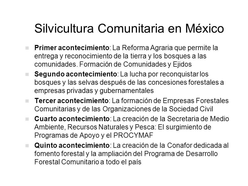 Silvicultura Comunitaria en México Primer acontecimiento: La Reforma Agraria que permite la entrega y reconocimiento de la tierra y los bosques a las