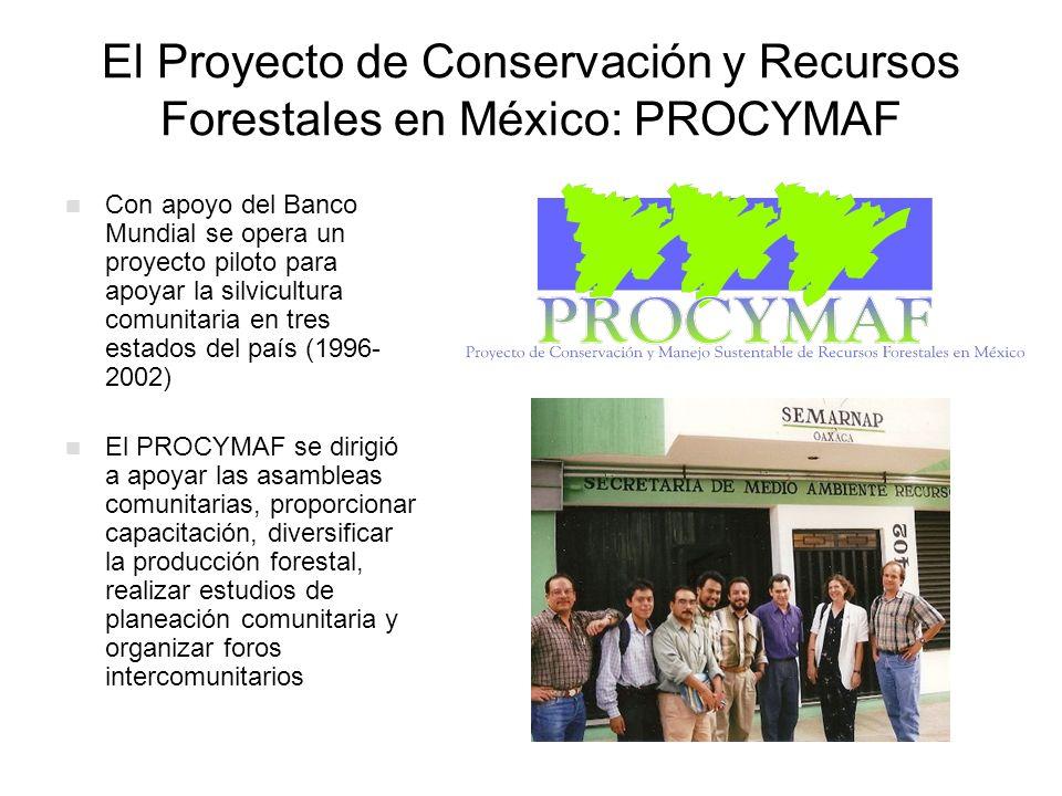 El Proyecto de Conservación y Recursos Forestales en México: PROCYMAF Con apoyo del Banco Mundial se opera un proyecto piloto para apoyar la silvicult