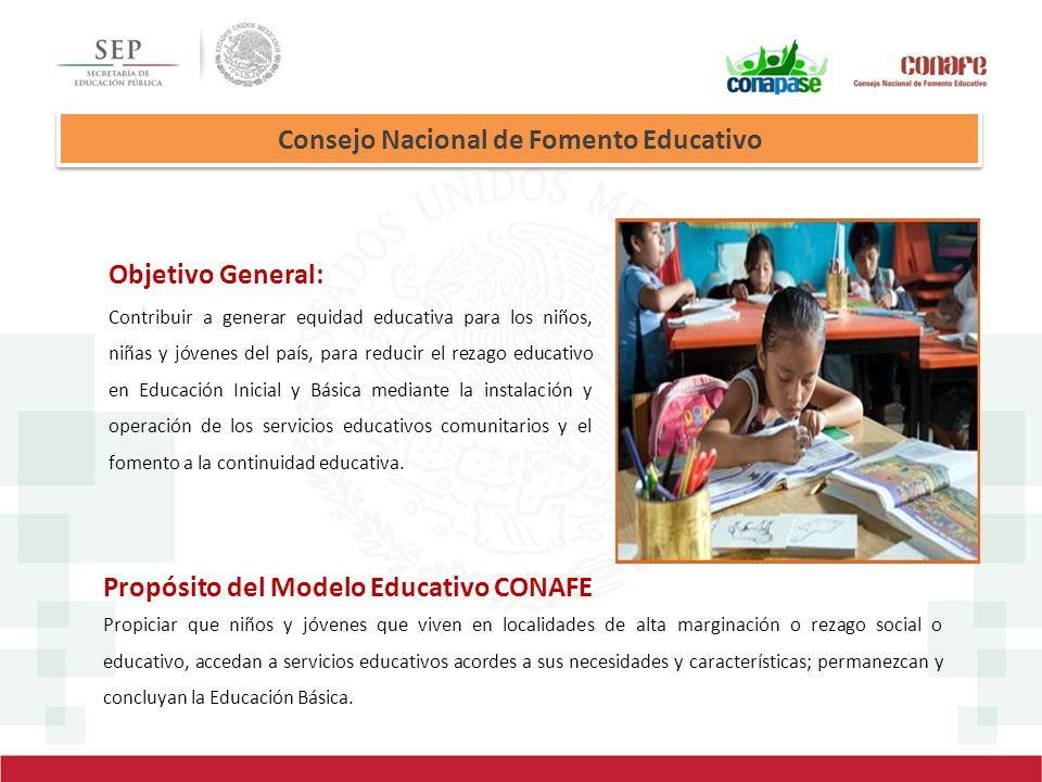 Consejo Nacional de Fomento Educativo Objetivo General: Contribuir a generar equidad educativa para los niños, niñas y jóvenes del país, para reducir