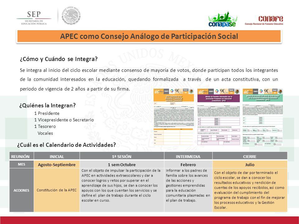 APEC como Consejo Análogo de Participación Social ¿ Cómo y Cuándo se Integra? Se integra al inicio del ciclo escolar mediante consenso de mayoría de v