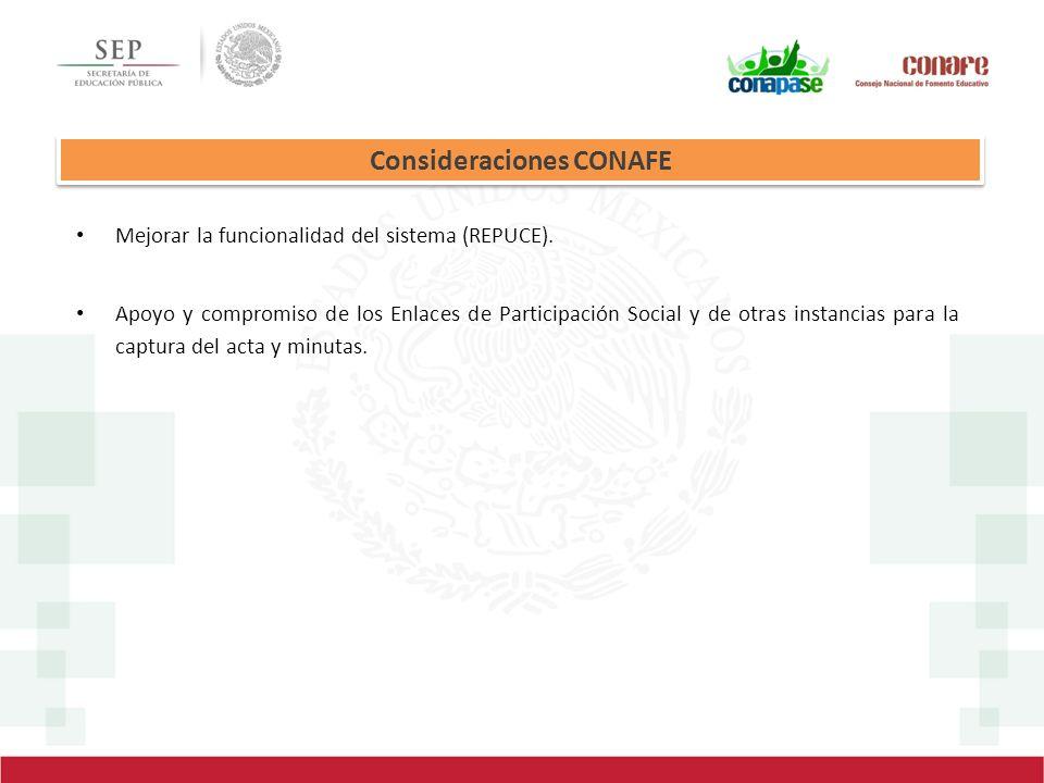 Consideraciones CONAFE Mejorar la funcionalidad del sistema (REPUCE). Apoyo y compromiso de los Enlaces de Participación Social y de otras instancias