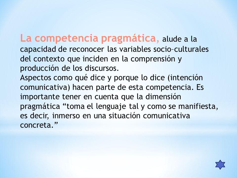 La competencia pragmática, alude a la capacidad de reconocer las variables socio–culturales del contexto que inciden en la comprensión y producción de