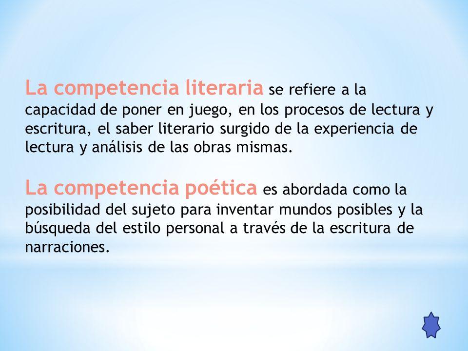 La competencia literaria se refiere a la capacidad de poner en juego, en los procesos de lectura y escritura, el saber literario surgido de la experie