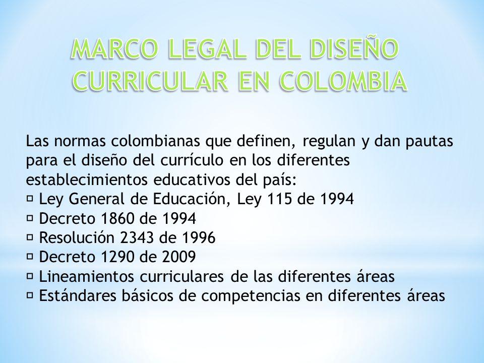 Las normas colombianas que definen, regulan y dan pautas para el diseño del currículo en los diferentes establecimientos educativos del país: Ley Gene