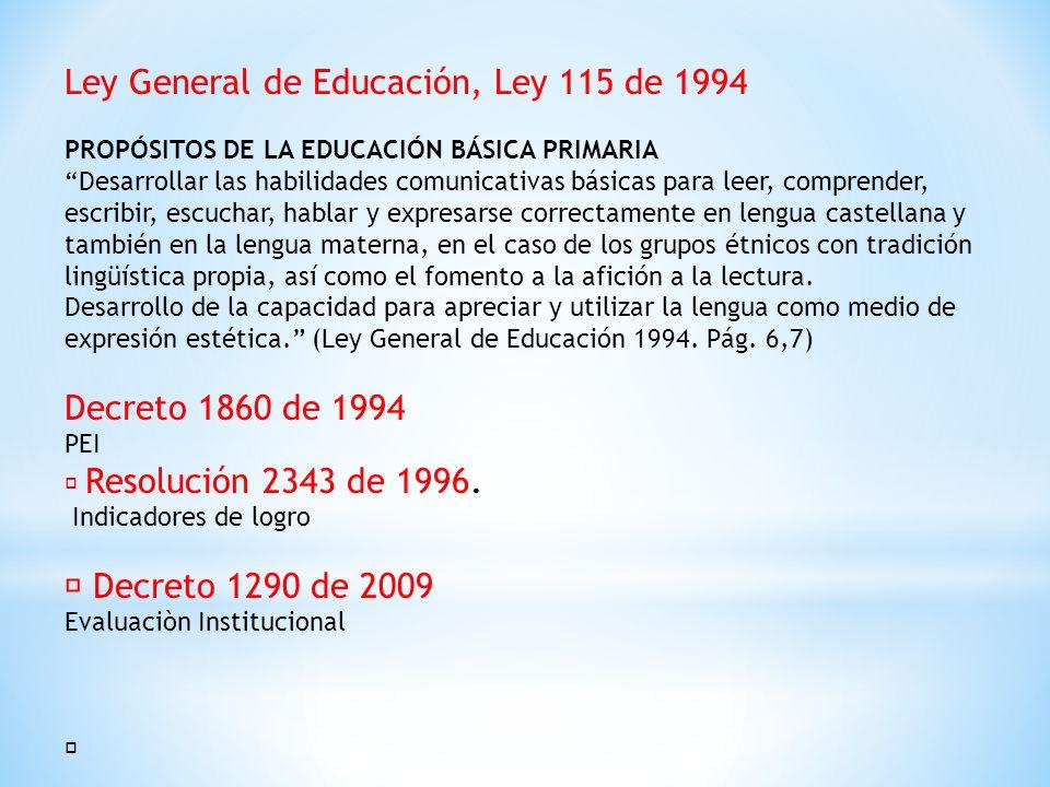 Ley General de Educación, Ley 115 de 1994 PROPÓSITOS DE LA EDUCACIÓN BÁSICA PRIMARIA Desarrollar las habilidades comunicativas básicas para leer, comp