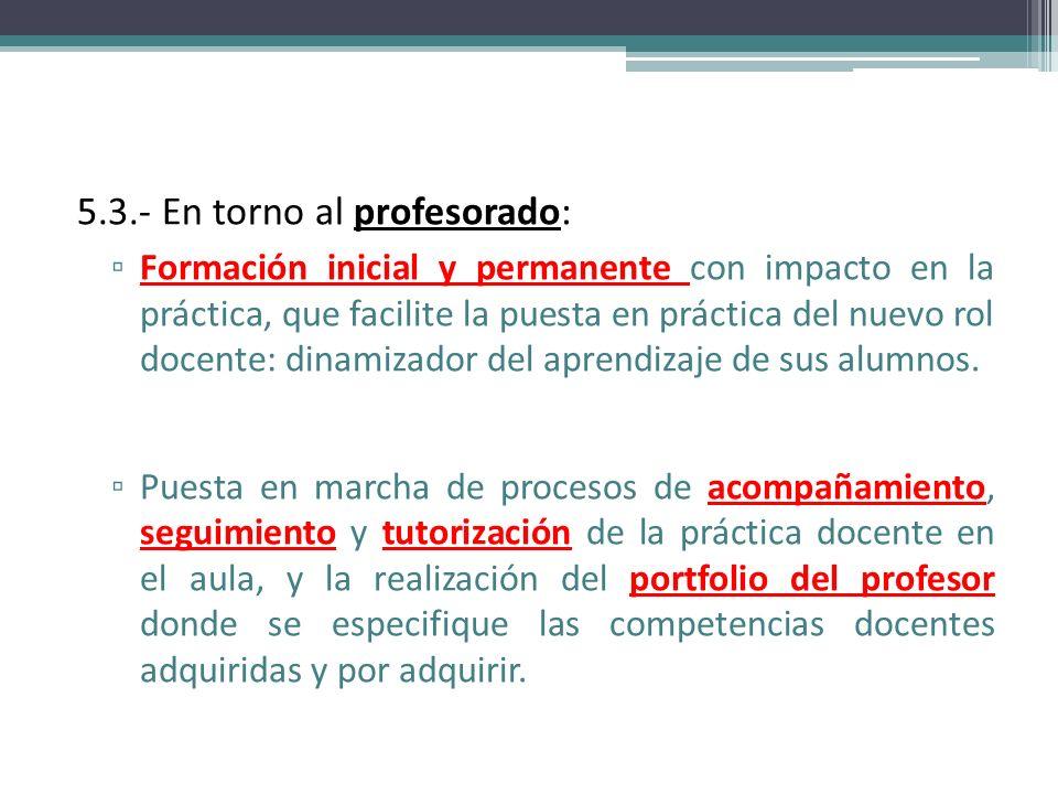 5.3.- En torno al profesorado: Formación inicial y permanente con impacto en la práctica, que facilite la puesta en práctica del nuevo rol docente: di