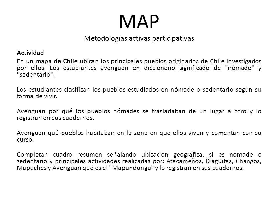 Actividad En un mapa de Chile ubican los principales pueblos originarios de Chile investigados por ellos. Los estudiantes averiguan en diccionario sig