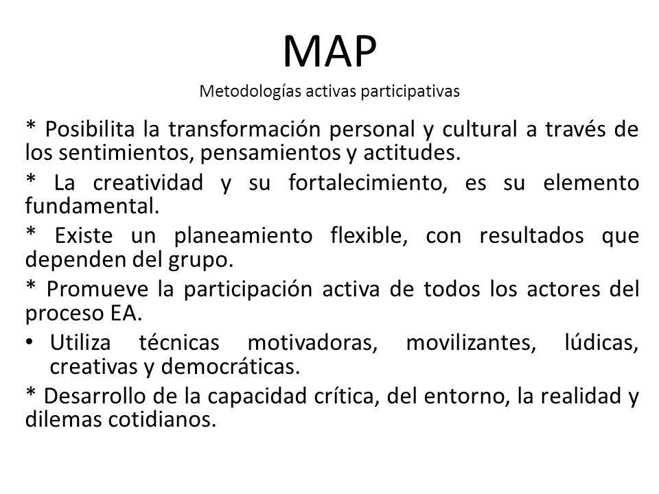 MAP Metodologías activas participativas * Posibilita la transformación personal y cultural a través de los sentimientos, pensamientos y actitudes. * L