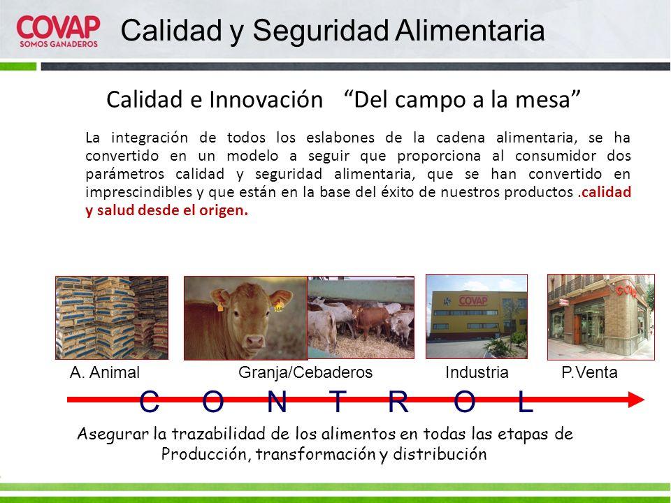 Calidad e Innovación Del campo a la mesa A. Animal Granja/Cebaderos Industria P.Venta C O N T R O L Asegurar la trazabilidad de los alimentos en todas