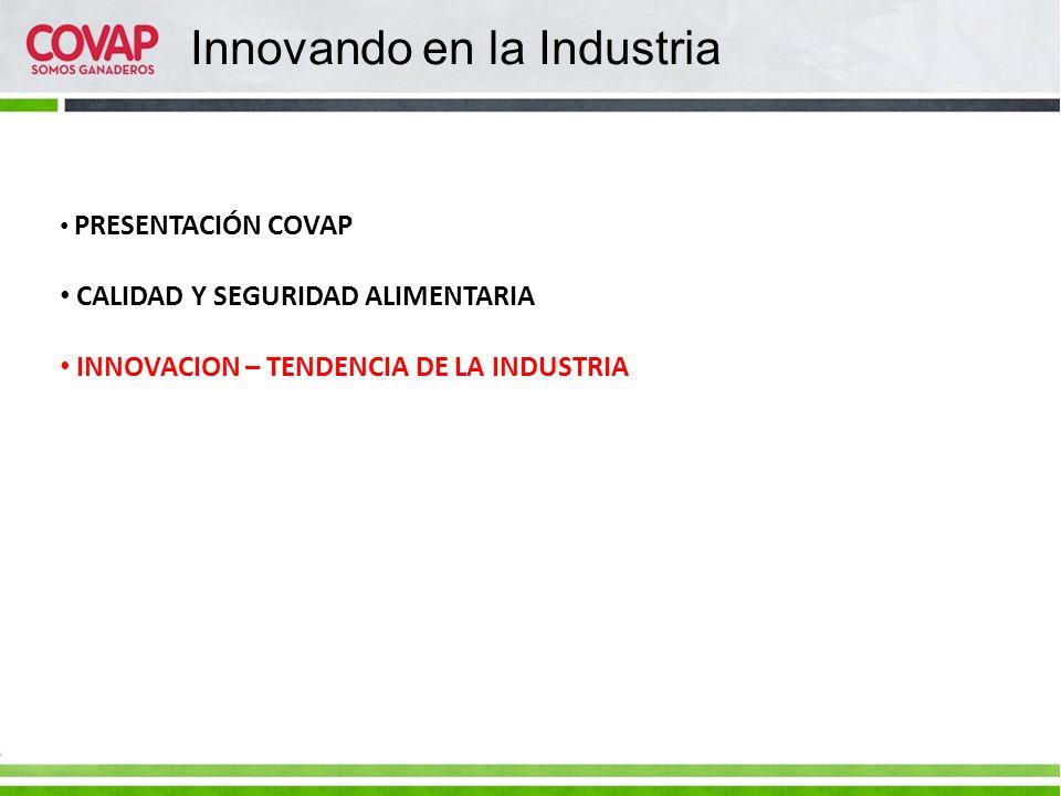 Innovando en la Industria PRESENTACIÓN COVAP CALIDAD Y SEGURIDAD ALIMENTARIA INNOVACION – TENDENCIA DE LA INDUSTRIA
