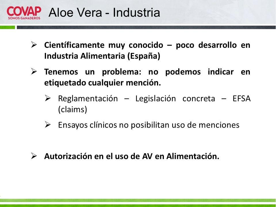 Científicamente muy conocido – poco desarrollo en Industria Alimentaria (España) Tenemos un problema: no podemos indicar en etiquetado cualquier menci