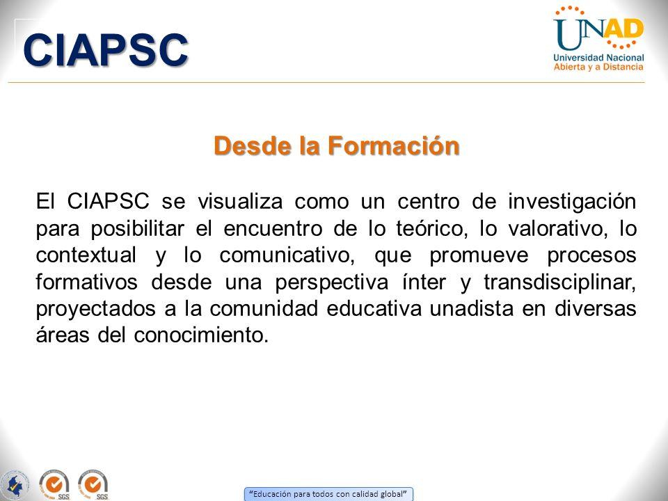 Educación para todos con calidad global Desde la Formación El CIAPSC se visualiza como un centro de investigación para posibilitar el encuentro de lo