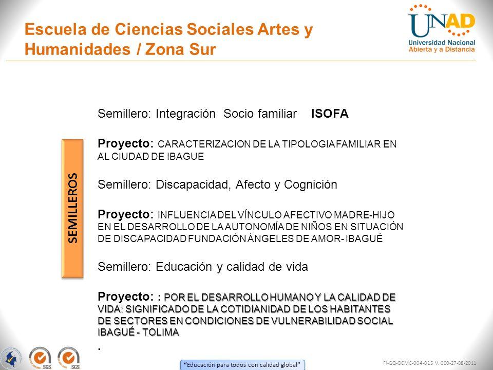 Educación para todos con calidad global Escuela de Ciencias Sociales Artes y Humanidades / Zona Sur FI-GQ-OCMC-004-015 V. 000-27-08-2011 SEMILLEROS Se