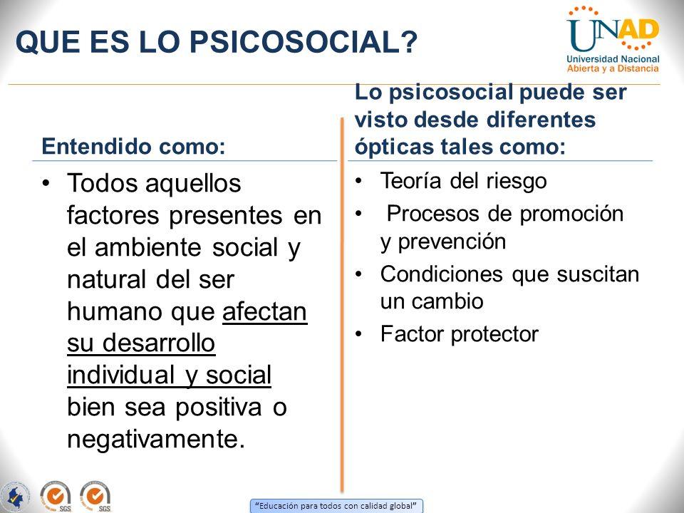 Educación para todos con calidad global QUE ES LO PSICOSOCIAL? Entendido como: Todos aquellos factores presentes en el ambiente social y natural del s
