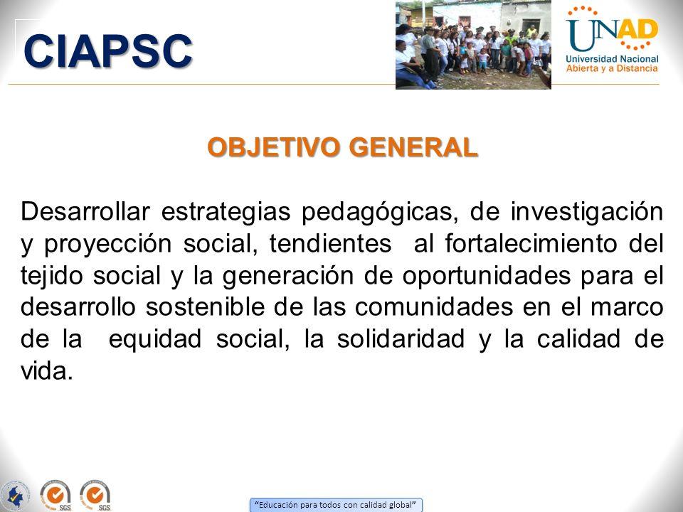 Educación para todos con calidad global OBJETIVO GENERAL Desarrollar estrategias pedagógicas, de investigación y proyección social, tendientes al fort