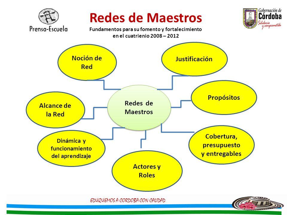 Redes de Maestros Fundamentos para su fomento y fortalecimiento en el cuatrienio 2008 – 2012 Redes de Maestros Redes de Maestros Justificación Propósi