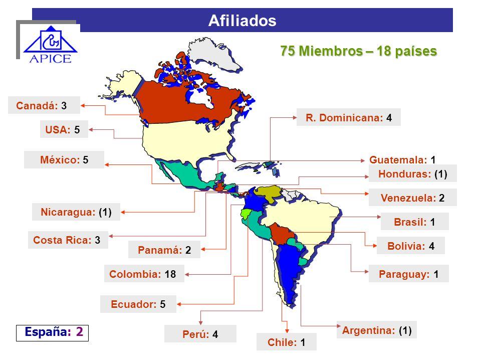 Colombia: 18 Perú: 4 Venezuela: 2 Afiliados Canadá: 3 USA: 5 México: 5 Honduras: (1) Nicaragua: (1) Costa Rica: 3 Chile: 1 Ecuador: 5 Panamá: 2 Argent