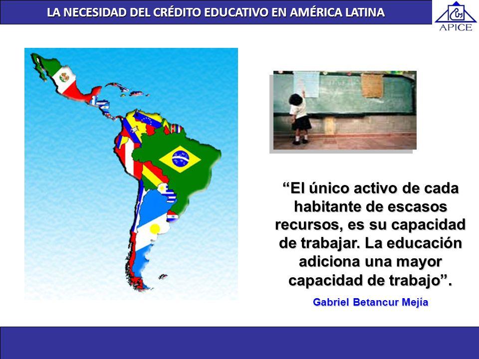 LA NECESIDAD DEL CRÉDITO EDUCATIVO EN AMÉRICA LATINA El único activo de cada habitante de escasos recursos, es su capacidad de trabajar. La educación