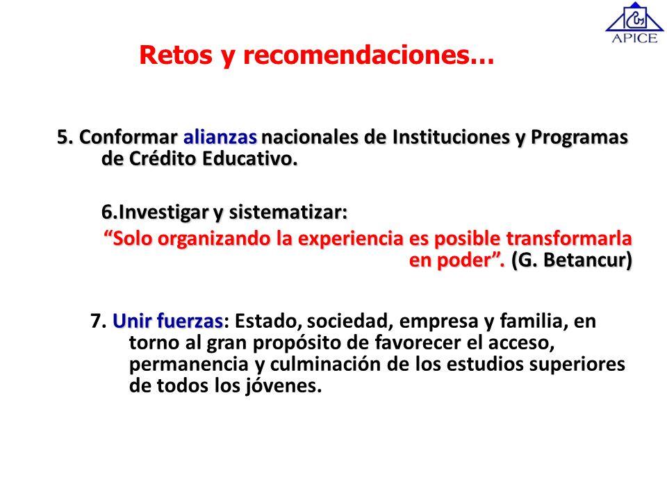 5. Conformar alianzas nacionales de Instituciones y Programas de Crédito Educativo. 6.Investigar y sistematizar: Solo organizando la experiencia es po
