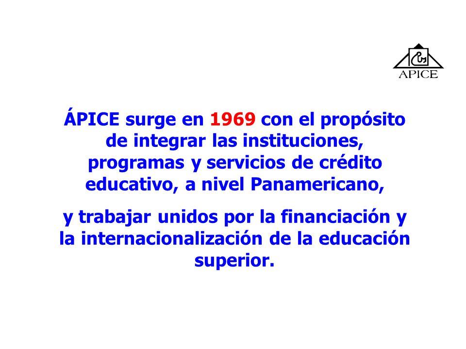 ÁPICE surge en 1969 con el propósito de integrar las instituciones, programas y servicios de crédito educativo, a nivel Panamericano, y trabajar unido