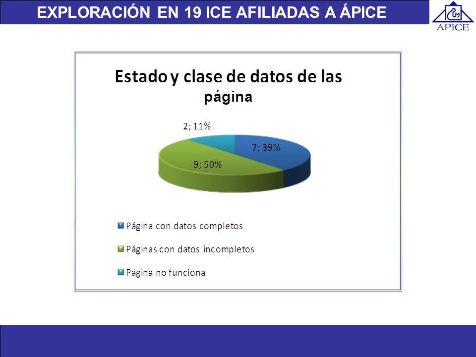 Unidad de investigación EXPLORACIÓN EN 19 ICE AFILIADAS A ÁPICE