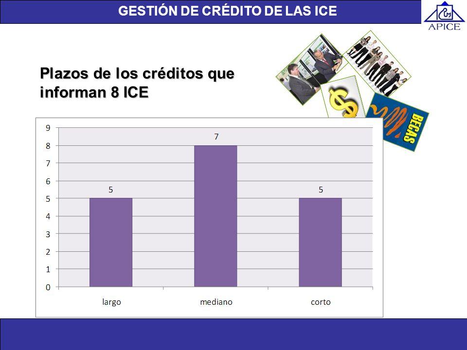 Unidad de investigación Plazos de los créditos que informan 8 ICE GESTIÓN DE CRÉDITO DE LAS ICE