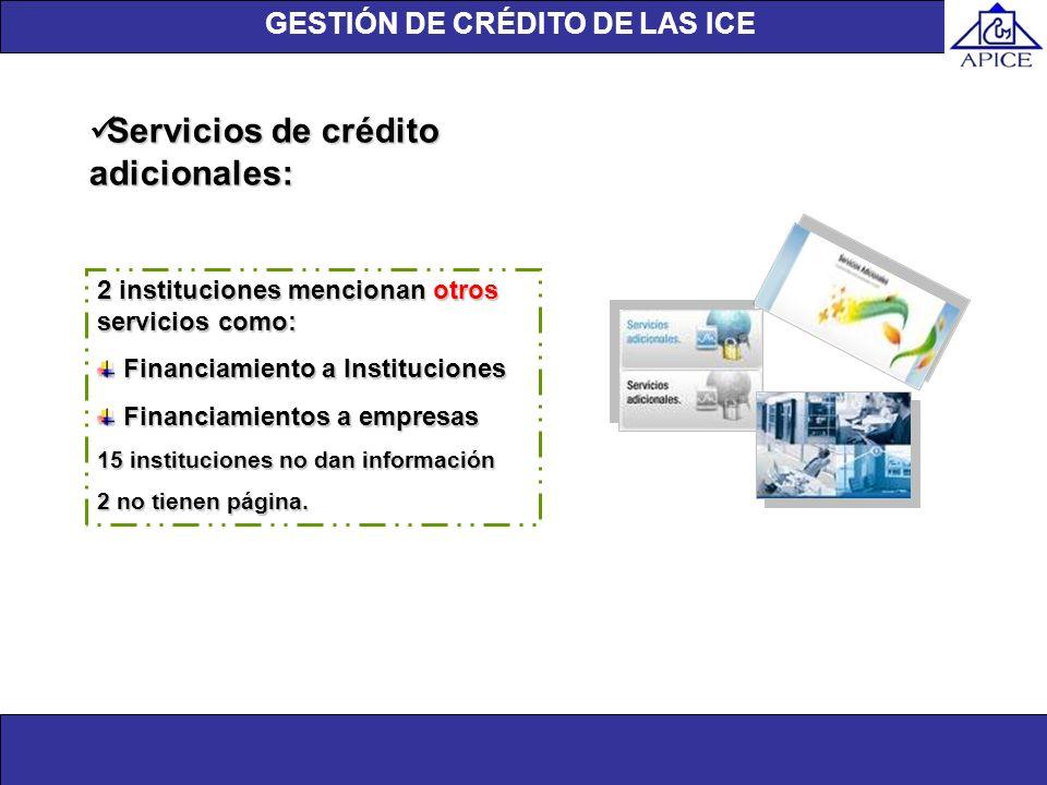 Unidad de investigación Servicios de crédito adicionales: Servicios de crédito adicionales: 2 instituciones mencionan otros servicios como: Financiami