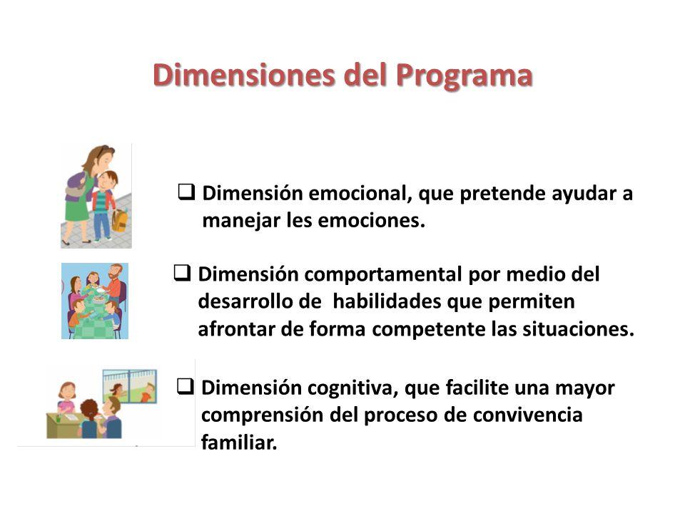 Dimensiones del Programa Dimensión emocional, que pretende ayudar a manejar les emociones. Dimensión comportamental por medio del desarrollo de habili