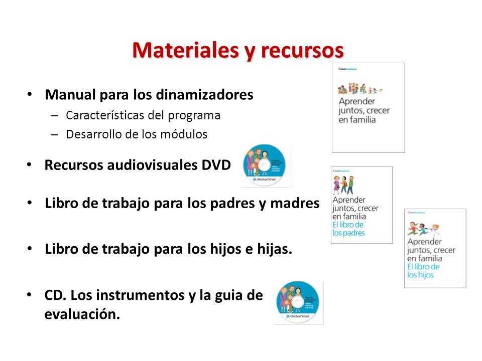 Manual para los dinamizadores – Características del programa – Desarrollo de los módulos Materiales y recursos Libro de trabajo para los hijos e hijas