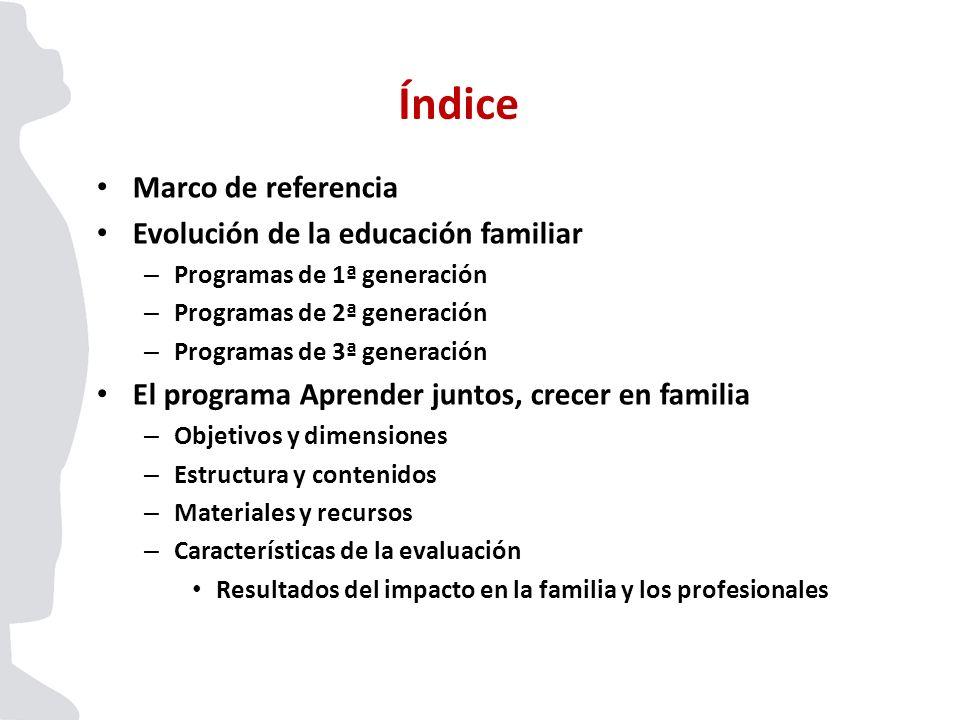 Marco de referencia Evolución de la educación familiar – Programas de 1ª generación – Programas de 2ª generación – Programas de 3ª generación El progr