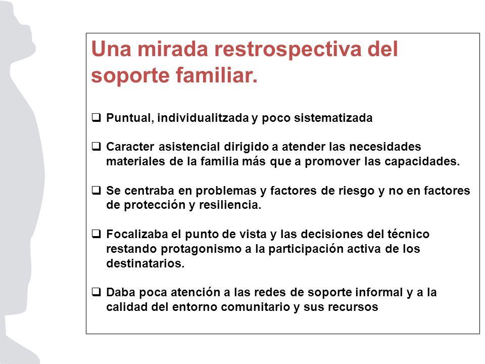Una mirada restrospectiva del soporte familiar. Puntual, individualitzada y poco sistematizada Caracter asistencial dirigido a atender las necesidades